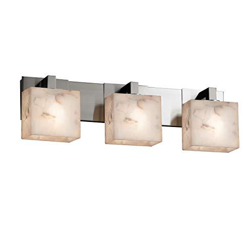 Justice Design Group Lighting ALR-8923-55-NCKL Justice Design Group - Alabaster Rocks! - Modular 3-Light Bath bar - Rectangle - Brushed Nickel Finish with Alabaster Rocks Shade, ()