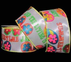 3-10 Yards Summertime and The Livin is Easy Flip Flops Satin Wired Ribbon 2 1/2