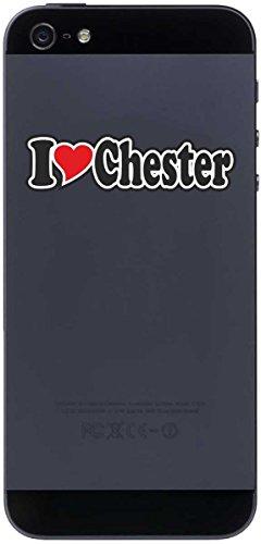 INDIGOS UG - Aufkleber - I Love Heart - Decal Sticker Handyaufkleber Handyskin 70 mm - I Love Chester - Smartphone Mobile Phone - Sticker with Name of Man Woman Child