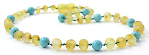 Raw Amber Teething Necklace Made with Turquoise Beads - Size 12.5 inches (32 cm) - Unpolished Honey Baltic Amber Beads - BoutiqueAmber (12.5 inches, Raw Honey/Turquoise)