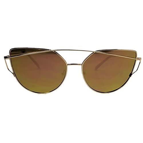 30390b2d97a75 Hipster Unike S Aviator Cat Eye Mirrored Reflective Men Women Sunglasses  Fashion Design Rose Gold well
