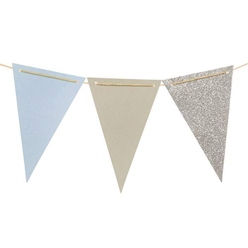 Ling's Moment 15pcs Paper Banner Flags Triangle Flags Banner Vintage Style Pennant Banner for Wedding, Baby Shower, Event & Party Supplies, Photograph Props(Gray+Pastel Blue+Silver Glitter)]()
