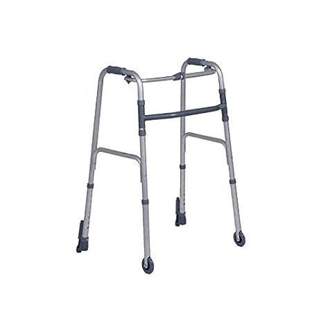 Fijo plegable marco de caminar con dos ruedas fijas y 2 ...