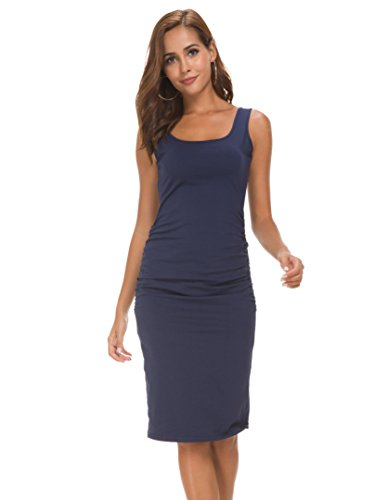 Women's Sleeveless Side Shirred Casual Knee Length Basic Body Con Maternity Tank Sheath Dress (Navy Blue, Medium/Large)