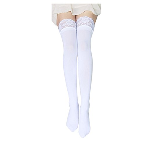 FUNOC Sexy Women Lace Top Thick Opaque Thigh High Stockings (White) (Lace Thigh High Tights)