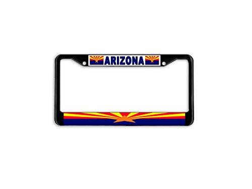 (Arizona State Flag Black Metal Car Auto License Plate Frame Holder Black)