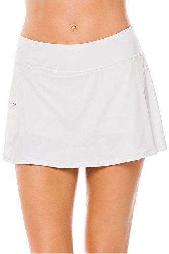 BEACH HOUSE WOMAN Women's Sport Solid Pull on Skort Bikini Bottom with Zip Pocket, White, 12