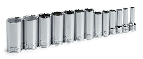 SK 4433 13 Piece 3/8-Inch Drive 6 Point 1/4-Inch to 1-Inch Deep and Extra Long Deep Socket Set ()