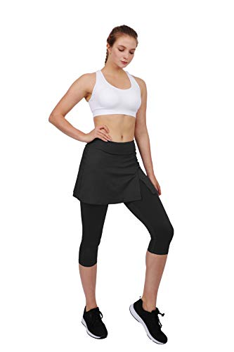 HonourSport Women's Skirted Capris Leggings,Side Slit Printed Tennis Skorts(Black,M)