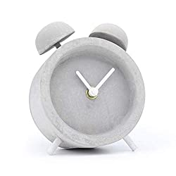 Driini Concrete Twin Bell Desk and Table Clock - Battery Operated with Precise Silent Sweep Movement