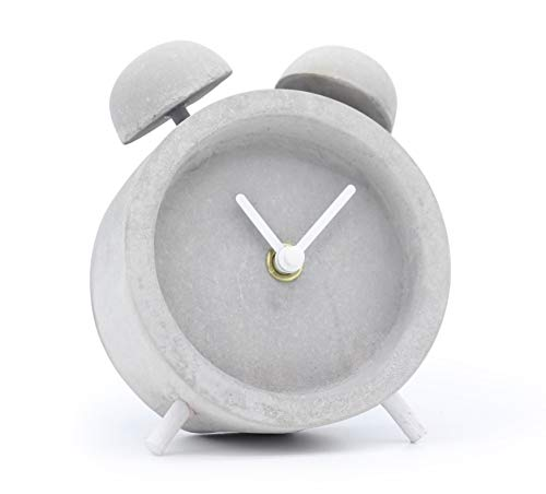 Driini Concrete Shabby Chic Analog Desk and Table Clock - Battery Operated, Precise and Silent - Cute, Small Home Decor for Your Bedroom, Living Room, Kitchen, or Bathroom.