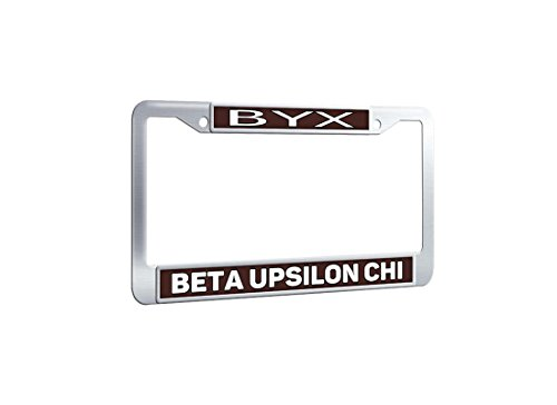 - Customizefu Beta Upsilon Chi Personalized License Plate Frame, Stainless Steel Polish Mirror Novelty Car Tag Plate Holders with Screws Caps for US Vehicles - Coffee