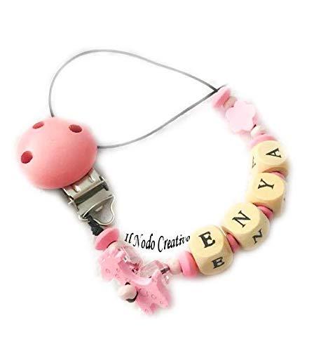 Cadena puerta chupete rosa | nombre adaptable: Amazon.es ...