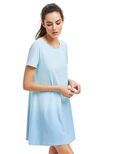 Romwe Balançoire Tunique Femmes T-shirt À Manches Courtes Robe De Bébé Cravate Colorant Bleu Robe Hombre