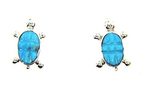 - Rich Peel USA Made by Zuni Artist Leon Hooee: Dazzling! Turtle Sterling Silver Turquoise Earrings