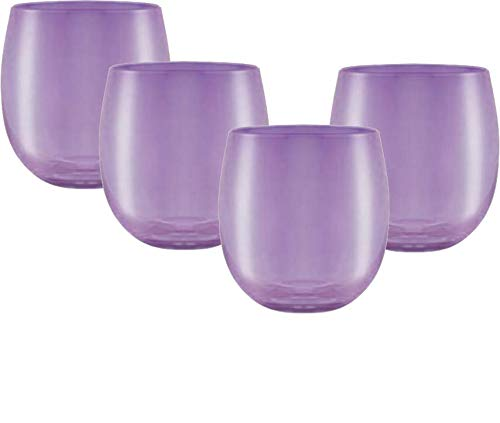 (Circleware 44835 Uptown Stemless Wine Glasses Set of 4, Party Entertainment Dining Beverage Drinking Cup Glassware for Water, Beer, Juice, Liquor, Whiskey & Bar Barrel Decor Gifts, 11.5 oz, Purple)