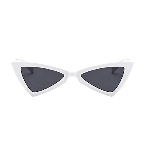 Hombres Gris Inlefen Bisagras las de sol de Gafas de metal metal de Triángulo gato de mujeres de Blanco ojo drgwrT