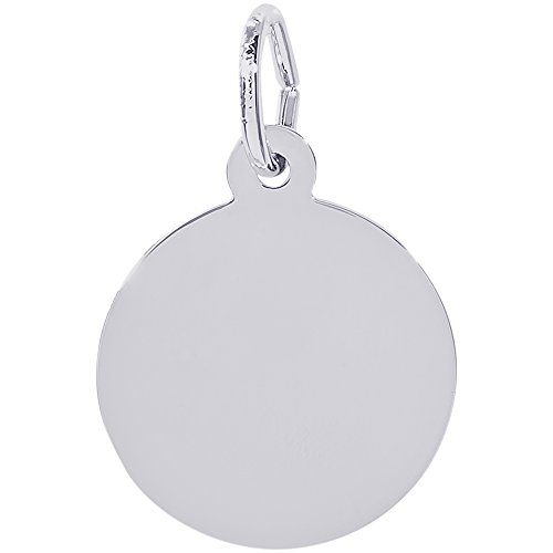 Rembrandt Charms Sterling Silver Extra Petite Round Disc Charm (14.5 x 14.5 mm) - Engravable Circle Charm Pendant