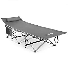 Alpcour Folding Camping Cot – Deluxe Collapsible Large Sleeping Bed for Adults & Kids w/Pillow for Indoor & Outdoor – Lightweight, Heavy Duty Portable Travel Camp Cots Design Holds Up to 300 Lbs