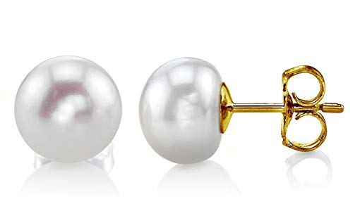 (THE PEARL SOURCE 14K Gold 7-8mm Button White Freshwater Cultured Pearl Stud Earrings for)