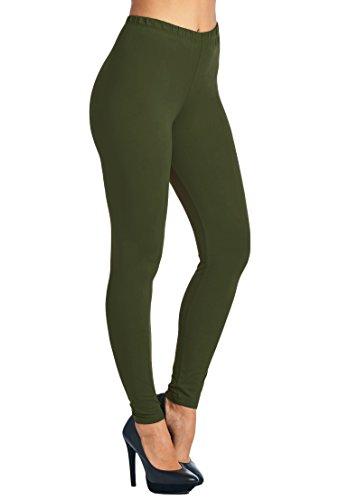 Leggings Mania Women's Plus Solid Color Full Length High Waist Leggings Olive ()