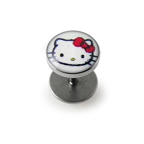 White Hello Kitty Logo Picture Top 16 Gauge - Hello Kitty Ear Plugs