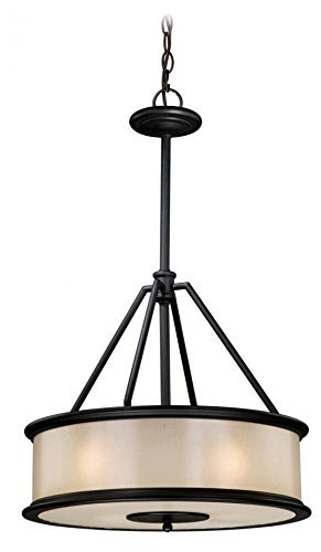 Vaxcel USA CRPDU180NB Carlisle 4 Light Foyer Pendant Lighting Fixture in Bronze, Glass by Vaxcel