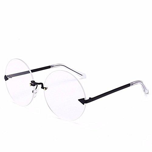 océano Flecha transparente Redondas Negro Gafas de Gafas Sol negro Pieza Personalizada Gafas Marco Hoja Intellectuality de Sol Marco sin Cerco hoja de Transparente vd4n6w4q