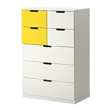 Ikea Nordli Kommode Mit 7 Schubkasten Weiss Gelb 80 X 120 Cm