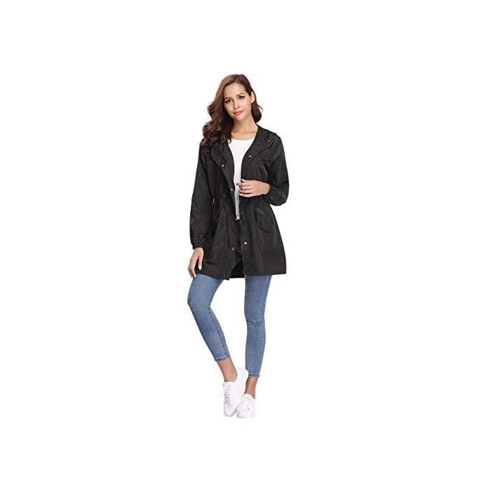 3187hPztMQL Multifunción Cortavientos de mujer:Anorak Mujer,característica con material impermeable y secado rápido, Puede ser resistente al viento, a la lluvia y a la nieve, cálido y hermético,también proporciona protección solar.Más es Transpirable, Skin-touch, Cómodo y cálido. Abrigo Impermeable para mujer :Es una chaqueta fina y muy impermeable, es ajustable a la cintura lo que hace que quede se ajuste al cuerpo todo lo que se quiera.Chubasquero Deporte Encapuchado Dobladillo de la gabardina está ajustado para mantenerlo caliente y resistente al viento. 100% Poliéster