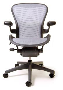 Herman Miller Aeron Basic Chair (Aeron Chair by Herman Miller - Basic - Graphite Frame - Platinum Wave Size C)