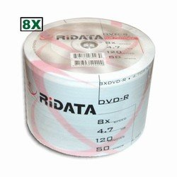 Ridata 8X DVD-R White Inkjet Hub Printable 600 Pack in Shrinkwrap by Ridata