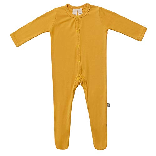 KYTE BABY Footies - Baby Footed Pajamas Made of Soft Organic Bamboo Rayon Material - 0-24 Months - Solid Colors (18-24 Months, Mustard) ()
