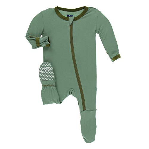 Newborn Boys Pant - Kickee Pants Little Boys Solid Footie with Zipper - Shore with Moss, Newborn