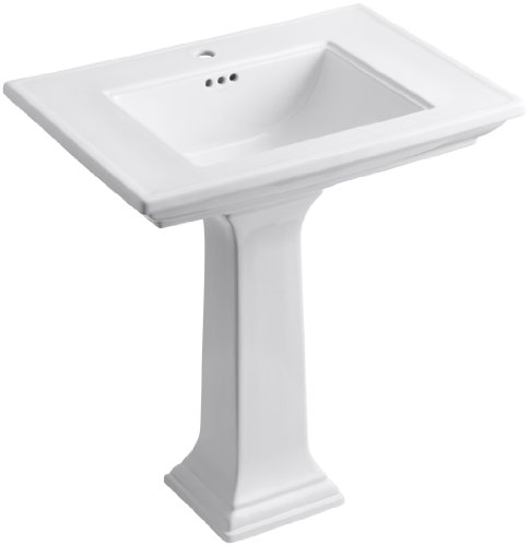 KOHLER K-2268-1-0 Memoirs Pedestal Bathroom Sink with Single-Hole Faucet Drilling and Stately Design, White