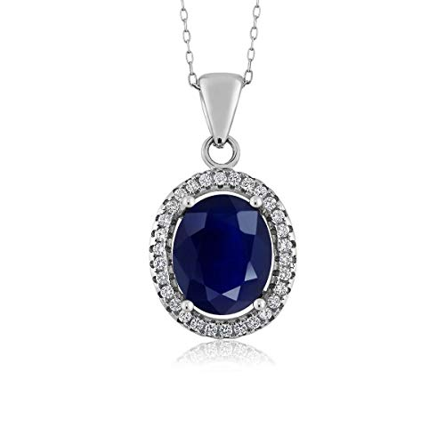 (Gem Stone King 925 Sterling Silver Blue Sapphire Women's Gemstone Pendant Necklace, 5.40 Ctw Oval with 18 Inch Silver Chain)