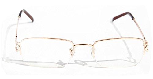 V.W.E. Rectangular Half Rim Metal Reading Glasses With Anti-reflective AR Coating (Gold, 1.00)