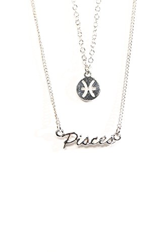 (The Classic Sign Horoscope Gold Filled Zodiac Symbol Fashion Necklace (Pisces_Silver))