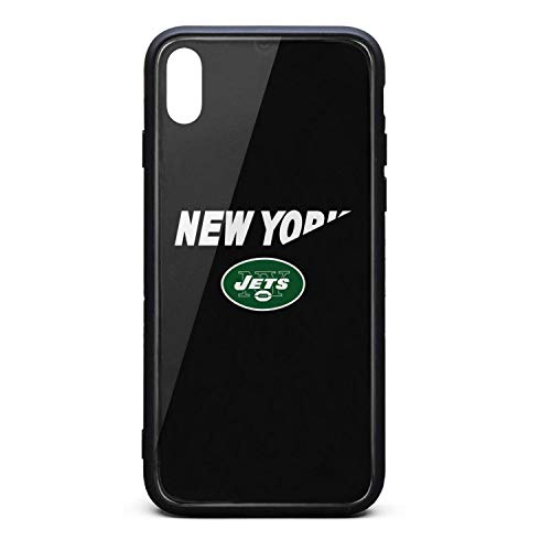 ZaiyuXio iPhone Xs Max Case Tempered Glass Back Cover Scratch-Resistant Anti-Slip Soft TPU Frame for iPhone Xs MAX 6.5 inch 2018 (New York Giants New York Jets Tickets)