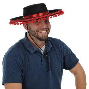 Black Felt Spanish Pom Pom Hat -