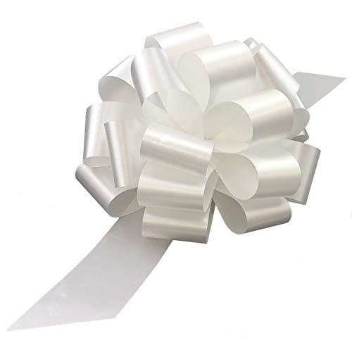 Large White Ribbon Pull Bows - 9