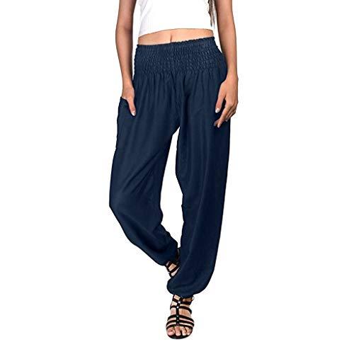 (POHOK Women Yoga Pants Loose Women's Bohemian Harem Yoga Travel Lounge Festival Beach Pants(XL,Navy))