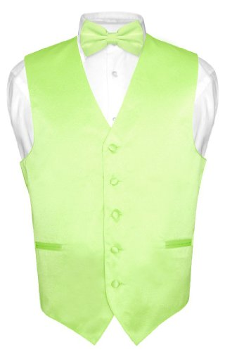 Men's Dress Vest & BowTie Solid LIME GREEN Color Bow Tie Set size Large