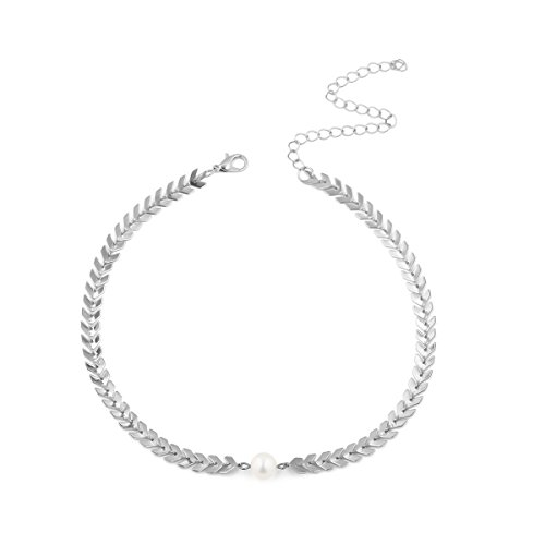 Booboda Kh-4058 Hot New Necklace, Double-Layer European and American Flat Shape Fishbone Arrow Necklace, Ladies -