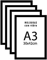 Kit 4 Porta Retrato Molduras A3 30x42 Preto