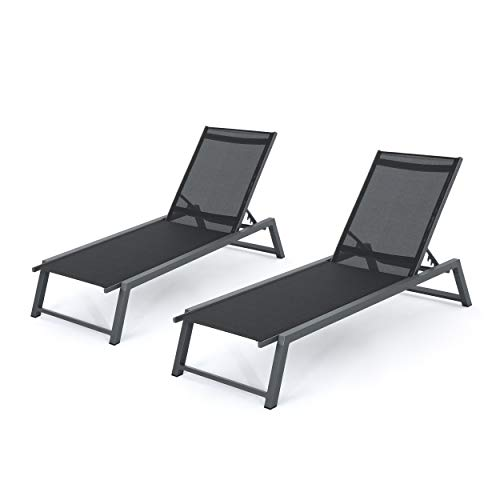 Mesa Outdoor Black Mesh Chaise Lounge with Grey Finished Aluminum Frame Set of 2