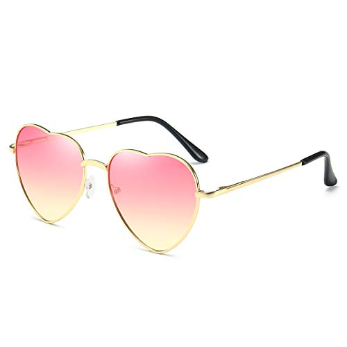 Dollger Pink Heart Shaped Sunglasses Style Hippie Sunglasses for ()