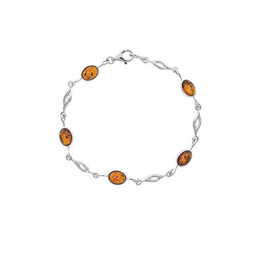 Jouailla - Bracelet argent 925/1000e rhodié et ambre - Cognac
