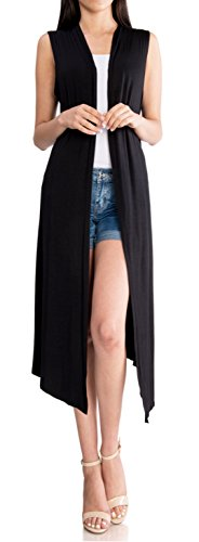 URBAN K Women's Long Sleeve Sleeveless Asymmetrical Drape Open Front Long Maxi Duster Cardigan