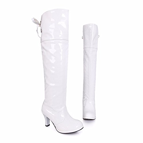 RFF-Women's Shoes Europe and The United States and Waterproof Boots Boots Size Lace Knee High Heel Boots Tube White (Terry) DxPXhCE
